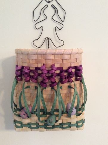 Handwoven Hanging Flower Basket with Easter decorations
