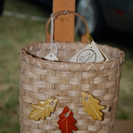 Handwoven Hanging Fall Basket dyed in walnut dye