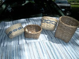 Handwoven Berry Baskets and Utensil Basket. Two of these have been left natural, and two have been dyed in walnut dye.