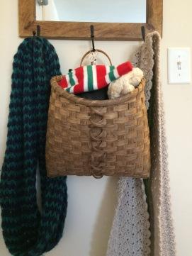 Handwoven Hanging Mitten Basket, dyed in walnut dye.
