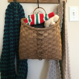 Handwoven Hanging Mitten Basket, dyed in walnut dye.
