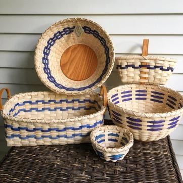 An assortment of baskets with blue accents
